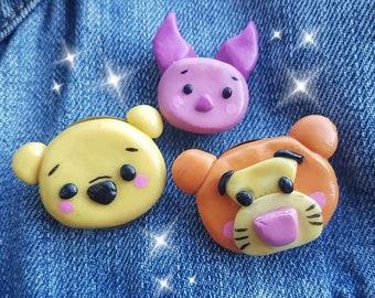 Winnie the pooh handmade decoden pins set