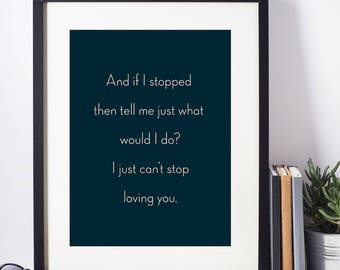 Michael Jackson  I just can't stop loving you  Blue Wall Art, Wedding Anniversary Gift, Valentine Gift, Gift for Her, A4, 8X11