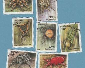 Tanzania Postage Stamps Set of 7 Spiders Insects Bugs Arachnids