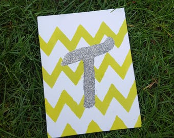 Personalize with any letter customized canvas  , chevron, nursery , wall art , office , door decor gift
