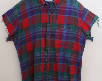 Cutoff Short Sleeve Flannel