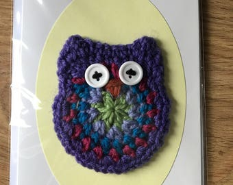 Crochet Owl Motif Card with Envelope