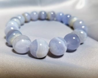 All-natural Chalcedony bracelet - marblelike - FREE card and gift box