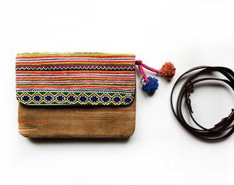 Embroidered Clutch, Ethnic Purse, Pom Pom Clutch, Tribal Handbag, Boho Bag, Hippie Bag, Striped Vintage Clutch, Gypsy Bag, Gift for Her