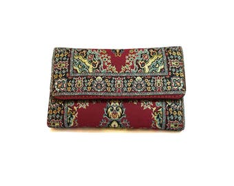 Boho Organizer Wallet, Travel Pocketbook, Paisley Billfold, Hippie Wallet, Clutch Purse, Womens Wallet, Red Coin Purse, Vegan Bifold, Bag