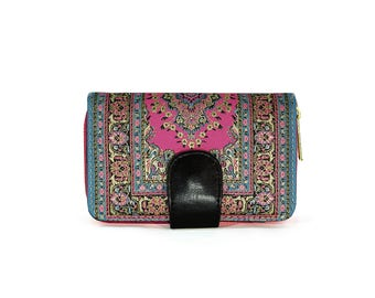 Pink Hippie Wallet, Boho Pocketbook, Womens Wallet, Zip Snap Clutch, Paisley Coin Purse, Turkish Carpet Bag, Clutch Purse, Kilim Rug Sac