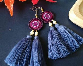 Handcraft Embroidered Tribal Ethnic Earrings Statement Dangle Drop Boho Chic Beaded Tassel Earrings Gift