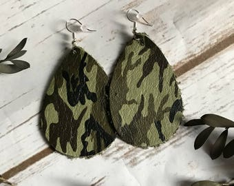 Camo Camoflauge Hunting Faux Leather Teardrop Earrings