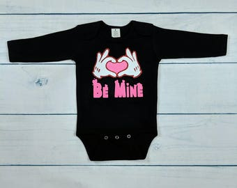 Onesie / bodysuit black long sleeve custom made, Valentine's Day