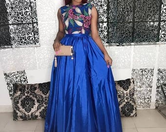 Blue dazzle African 2 piece top and skirt.