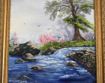 Waterfall, river with rocks