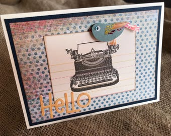 Hello Handmade Greeting card with typewriter and bird, polkadot background, blank card