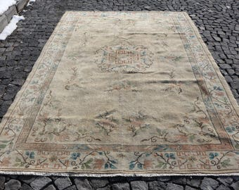Muted Color Turkish Rug Bohemian Large Size Rug Free Shipping 7 x 10.7 ft. Handknotted Rug Thin Pile Rug Floor Rug Boho Soft Rug MB35