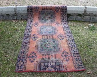 Turkish wool rug Free Shipping  3.9 x 8 ft. runner area rug for kitchen design hallway rug turkish handknotted rug faded rug boho rug MB408