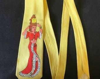 hand-painted necktie Carmen Miranda