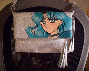 Custom, painted bag, handbag, Sailor Neptune, Michiru, Glitter
