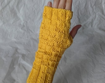 Yellow cotton fingerless gloves