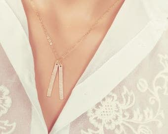 Rectangle Name Necklace. gold filled rose gold or silver