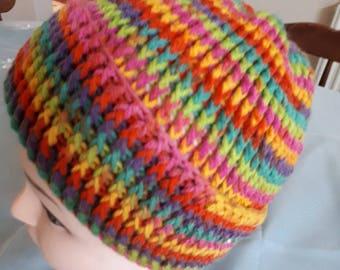 Super Luxurious Arana Crochet Rainbow Bright Beanie Hat