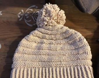 Beige Pompom Hat