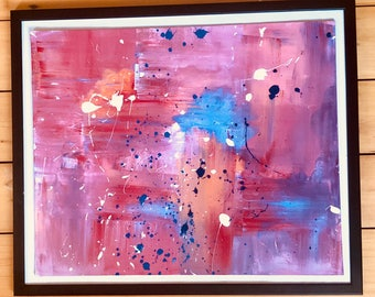 Pink Abstract Canvas Art, Red Abstract Painting, Expressionist Vibrant Art, Modern Art Acrylic Painting, Original Art, Contemporary Artwork