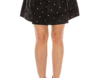 short faux leather studded skirt