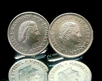 Netherlands  coins cufflinks. Netherlands 10 Cents - Juliana coins cufflinks.Wedding cufflinks. Juliana, Queen of the Netherlands cufflinks.