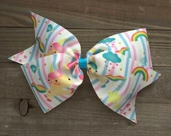 "Rainbows Unicorns and Stripes 7"" Bow"