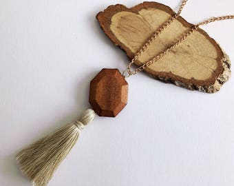 Tassel Necklace with Dark Wooden Bead
