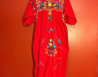 1970's Mexican inspired Oxacan Embroidered Dress. Size L