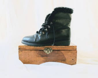 90s Vintage Biker Ankle Boots - Man Made Materials Vegan witchy goth grunge rocker boots Size 8