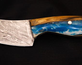 Dyed Olive wood Damascus Steel kitchen Knife