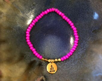 Pink and Gold Buddha Beaded Charm Stretch Bracelet