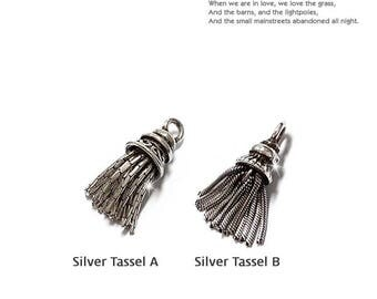 Sterling Silver Tassel, Chain Tassel, Tassel Jewelry, Silky Tassels, Antique Tassels, Silver Mini Tassel, Fancy Tassels(19~20mm)