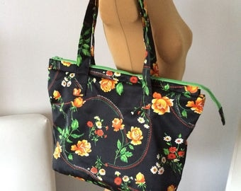 Upcycled Handbag Purse Black Floral Green OOAK