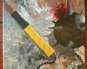 Mace-Used  Acrylic on canvas original weapon painting
