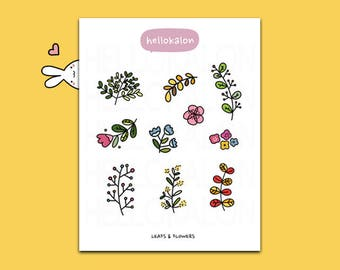 leaves and flowers. decorative stickers. planner stickers. bullet journal stickers, erin condren (t002)