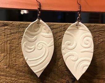 White Embossed Leather Leaf Earrings