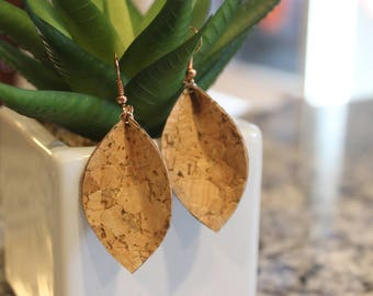 Natural cork with gold speckles Joanna Gaines look a like leaf earrings