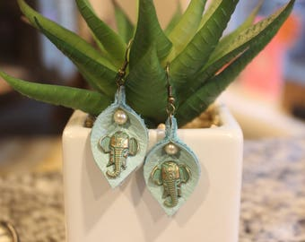 teal leaf shaped earrings, re-purposed genuine leather, elephant and pearl embellishment, nickel free