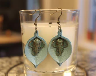 teal leaf shaped leather earrings, elephant, nickel free, re-purposed genuine leather