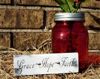 Grace, Hope, Faith 1.5 X 5.5 inch Refridgerator Magnet