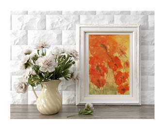 Original Poppies Painting Field of Red Poppies Painting of Red Flowers Abstract Flowers Small Art Home Decor Spring Flowers Gift for Mother