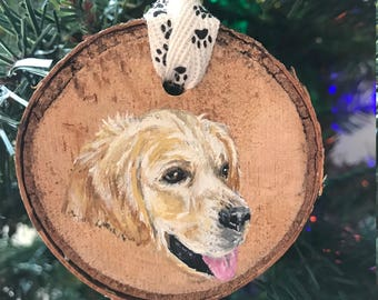 Hand Painted Golden Retriever Ornament