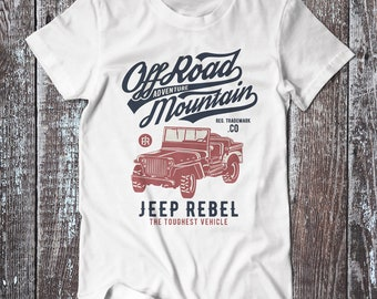 Mountain Off Road  , Jeep Rebel Tee , Graphic T-shirt , Classic Off Road Shirt