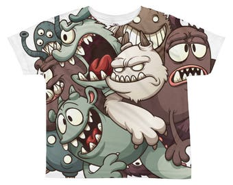 A Tangle of Monsters all over print kids tee