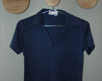"""70's Blue """"Lady Pickering"""" Polo Blouse"""