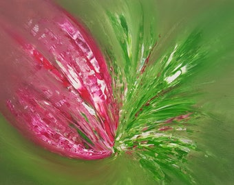 Fuschia Burst original abstract acrylic canvas painting