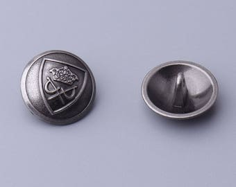 10pcs 18mm light black zinc alloy button with feet vintage embossed round button