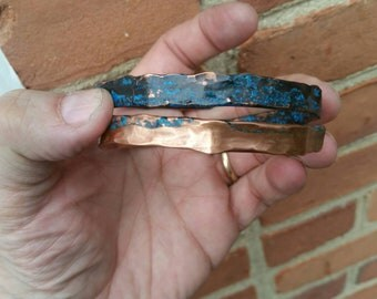 Copper, coated, sealed, hammered, tubing, metalwork, handmade, Patina, Bangle, Bracelet, Adjustable.